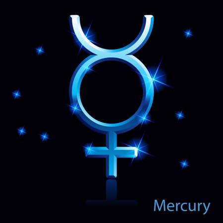 Shiny blue Mercury sign on black . Stock Vector - 24012082