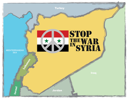 stop the war sign: Stop the war in Syria, abstract illustration with Syrian map and Peace sign