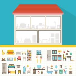 Casa Interior Vector Casa Plana Con Juego De Las Habitaciones Básicas Moderno Edificio En El Corte Con Muebles Ilustraciones Vectoriales Clip Art Vectorizado Libre De Derechos Image 49641952