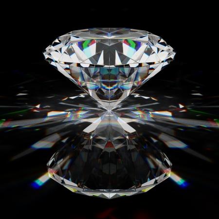 Diamant taille brillant sur une surface noire Banque d'images - 21863765