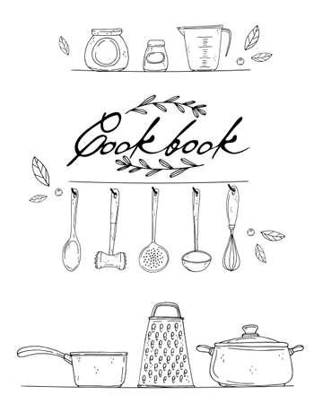 Cookbook Clipart : cookbook, clipart, Cookbook, Cover, Stock, Illustrations,, Cliparts, Royalty, Vectors
