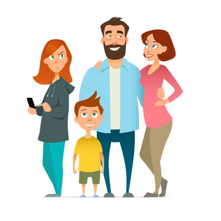 Image result for mom, dad, kids and gadgets illustration