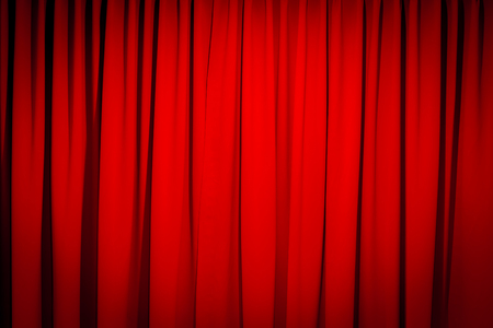 Red Closed Curtain With A Light Spot Use For Background Stock Photo 57593355