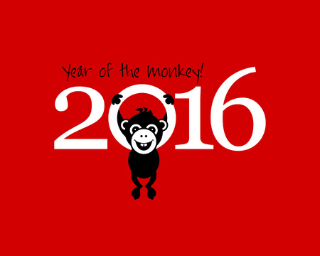 happy new year ICONS: 2016 New Year card or background with monkey. Happy New Year. Merry Christmas. Year of the monkey!