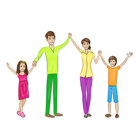 Happy family raised arms up four people Stock Vector - 33393051