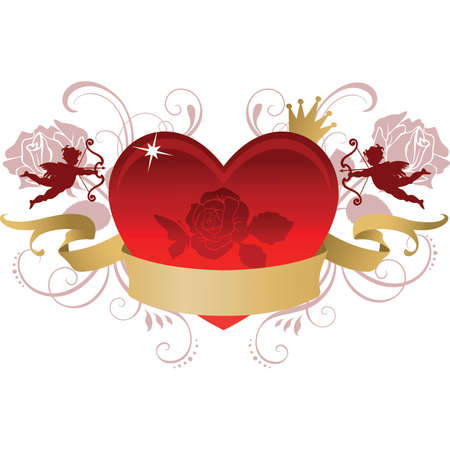 Valentine Heart with banner Stock Vector - 41194637