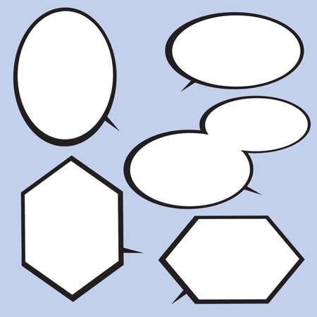 Black and White Hexagonal and Round Comic Speech Balloons