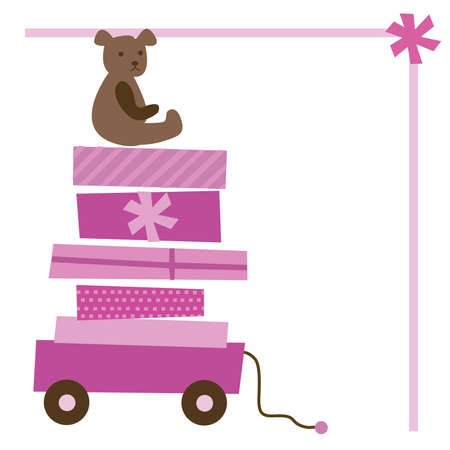 Girl Baby Shower Wagon with Bear and Bow