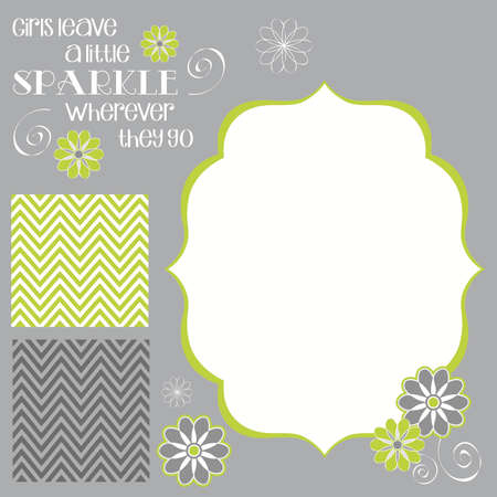 Girls Leave Sparkle Girl Baby Shower Invite Elements in Lime Green and Grey
