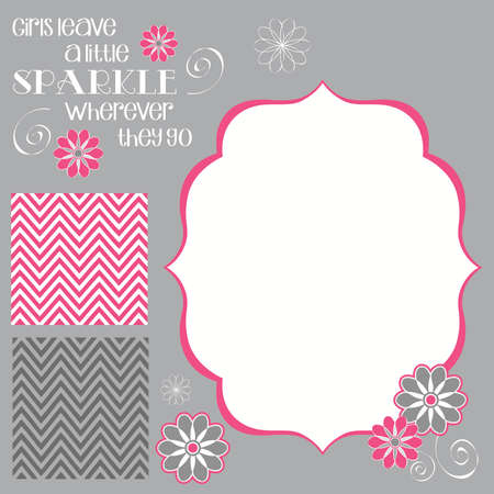 Girls Leave Sparkle Girl Baby Shower Invite Elements in Pink and Grey