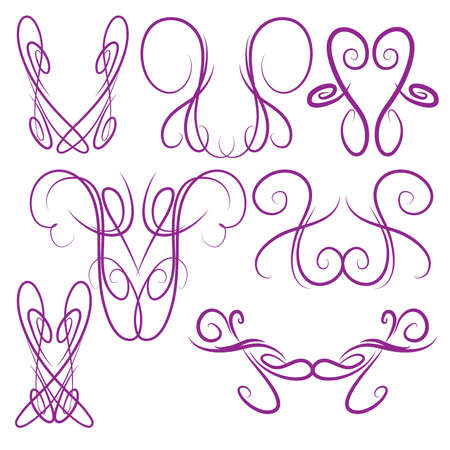 Decorative Symmetrical Pinstripe Style Swirls Elements, Purple 68749212