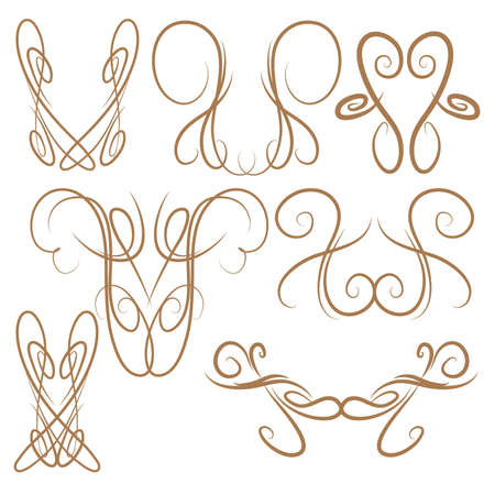 Decorative Symmetrical Pinstripe Style Swirls Elements, Brown 68749213