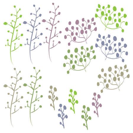 Retro Hand Drawn Foliage Set 68749218
