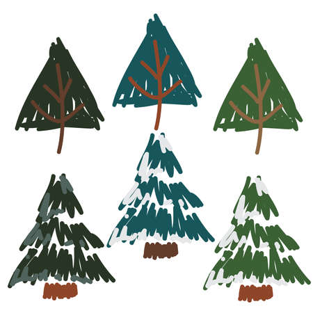 Hand Drawn Snow Covered Pines, and pine trees set 68719232