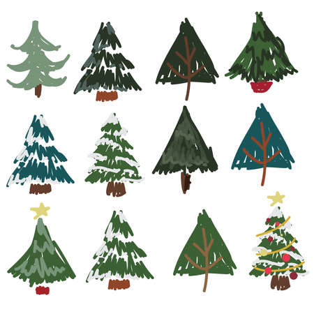 Hand Drawn Pine Tree, Christmas Tree, Set 68749223