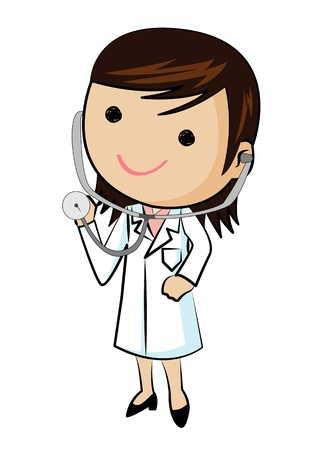 female doctor: Female doctor wearing stethoscope, vector
