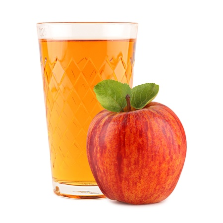 cider: apple wine glass with apple in front of white background