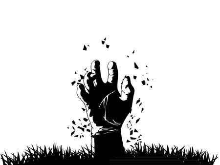 funeral: Zombie hand coming out from grave