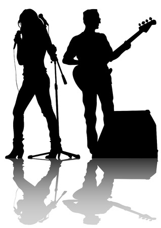 Group and singer of rock band on white background Stock Vector - 34188778