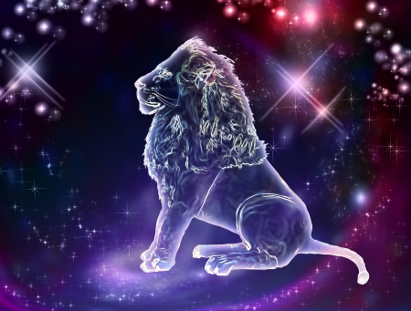 Lion is the king of animals  The constellation of Leo is a sign of the leaders  A strong spirit, strong body, strong will  Stock Photo - 20428908