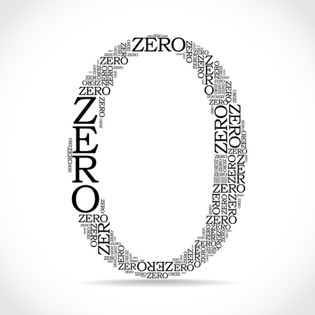number 0: zero sign created from text - illustration Illustration