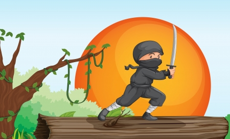 ninja in trees: illustration of a ninja in a beautiful nature