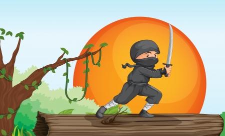 ninja in trees: illustration of a ninja in a beautiful nature