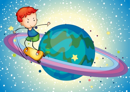 illustration of a boy on a planet saturn ring Stock Vector - 15249970