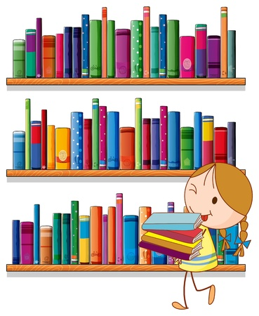 Illustration of a little girl in the library on a white background Stock Vector - 20518176
