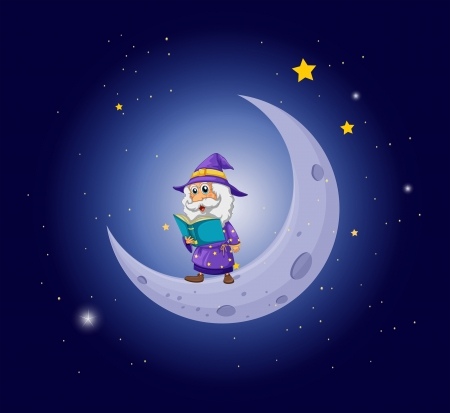 Illustration of a wizard holding a book near the moon Stock Vector - 20727516