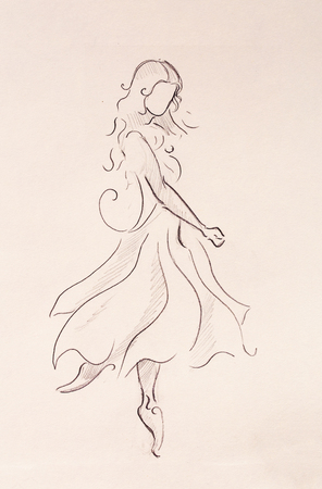 Woman Pencil Sketch : woman, pencil, sketch, Standing, Figure, Woman,, Pencil, Sketch, Paper., Stock, Photo,, Picture, Royalty, Image., Image, 75664296.