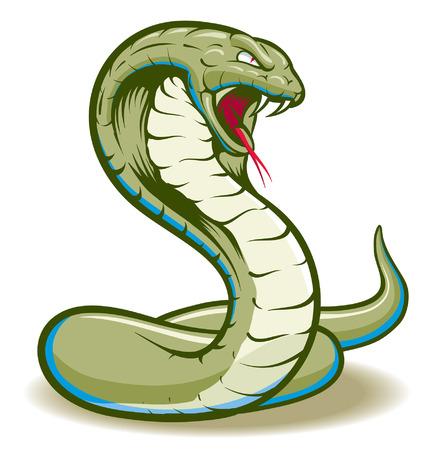 Serpent Cobra Serpent Enroule Et Pret A Frapper Montrant Les Crocs Et La Langue Illustration