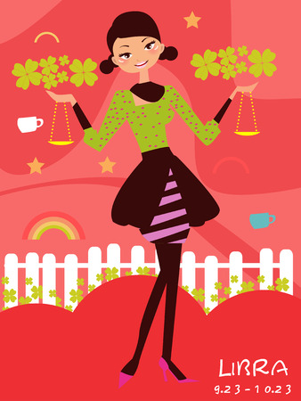 Illustraon of fashion horoscope libra cute funny girl Stock Vector - 8069966