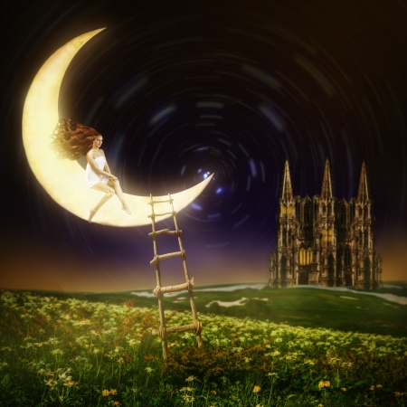 Wonderland. Beautiful female princess sitting on moon in night sky with stars Stock Photo - 20258587