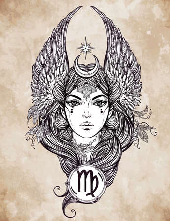 Hand drawn romantic beautiful artwork of astrological Virgo sign in female form. Zodiac, horoscope, alchemy, spirituality, occultism, tattoo art. Isolated vector illustration. Stock Vector - 46673403