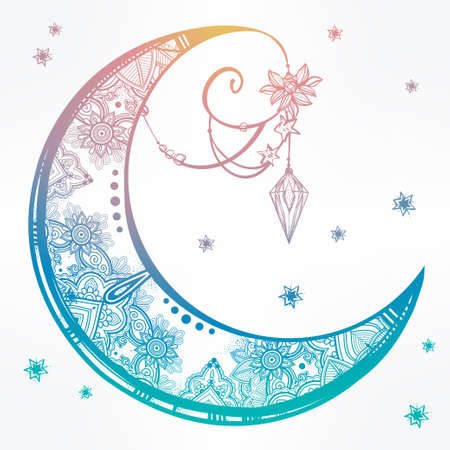 Intricate hand drawn ornate crescent moon with feathers, gemstones. Isolated Vector illustration.Tattoo art, astrology, spirituality, alchemy, magic symbol. Ethnic, mystic tribal element for your use Stock Vector - 47045097