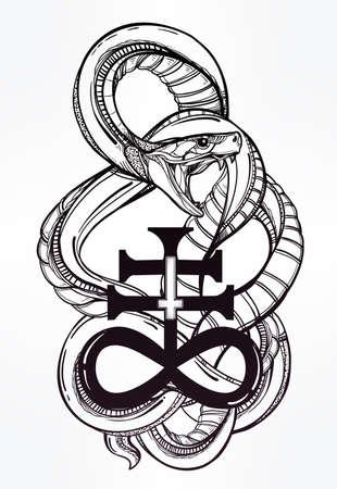 Tatouage Serpent Hand Drawn Art Du Tatouage Vin E Symbole Vin E Tres Detaille