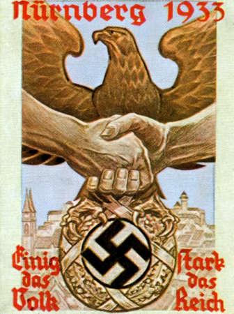 swastika: CIRCA. 1933: Rare German vintage cigarette card from ca. 1933 Der Staat der Arbeit und des Friedens album.