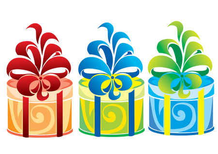 Three gift boxes of different colors Stock Vector - 2057115