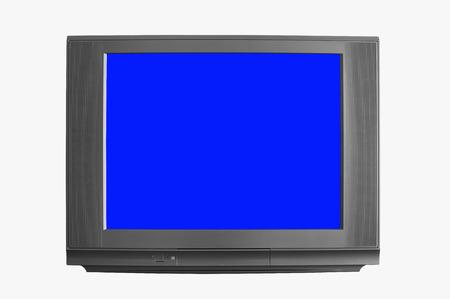 vue de face blanc noir moderne television ou tv et ecran bleu ecran carre moniteur sur fond blanc isole inclus le trace de detourage et le corps