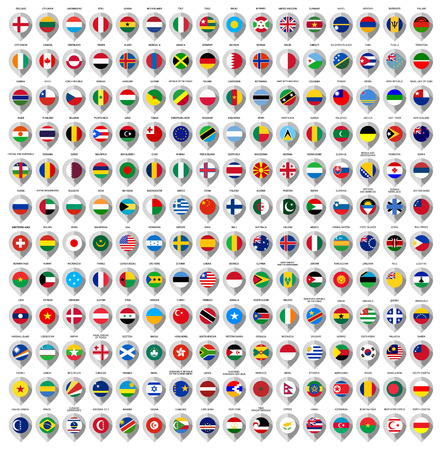 the world: 192 Markers from paper with flag for map, vector illustration Illustration