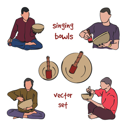 singing bowl: Musician playing singing bowls. silhouette set on white background.