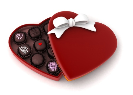 chocolate candy: Illustration of a Partially Open Gift Filled with Chocolates