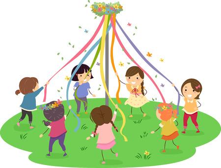 Stickman Illustration of Girls Dancing Around a Maypole Stock Illustration - 36586611
