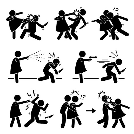FIGHTING ICONS: Woman Female Girl Self Defense Stick Figure Pictogram Icon