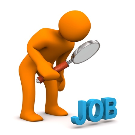 Orange cartoon character with loupe and blue text JOB. Stock Photo - 19398117