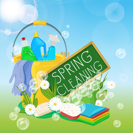Poster design for cleaning service and cleaning supplies. Spring cleaning kit icons Stock Vector - 37153293