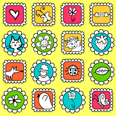cute colorful stamps with