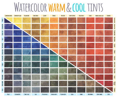 Vector watercolor mixing chart colors in equal guantities with each of the colours on popular palette also rh rf