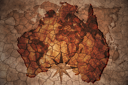 Australia: australia map on vintage crack paper background